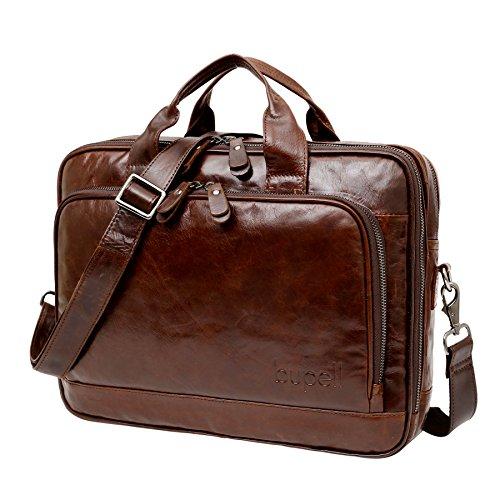 bupell Business Aktentasche mit Laptop-Fach aus echtem Leder in elegantem Vintage Style für Herren - Cognac Braun XL - Glattleder
