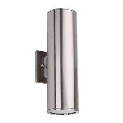 Outdoor Wall Light, Stainless Steel Exterior Wall Sconce Up/Down Cylinder, IP54 Waterproof for Garden & Patio [ETL Listed]