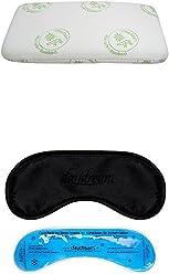 daydream Kopfkissen aus Memory Foam mit Gel und Bezug Aloe vera, 70 x 40 x 10 cm + daydream Premium-Schlafmaske mit Kühlkissen