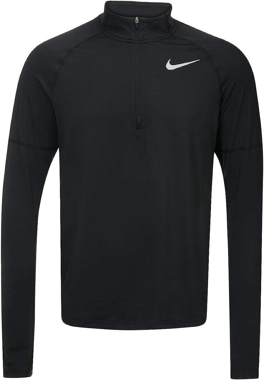 Descubrimiento Leeds Fuera de  Amazon.com: Nike Mens Dri-Fit Element Half-Zip Running Shirt Black 904946  010 (Small, Black): Clothing