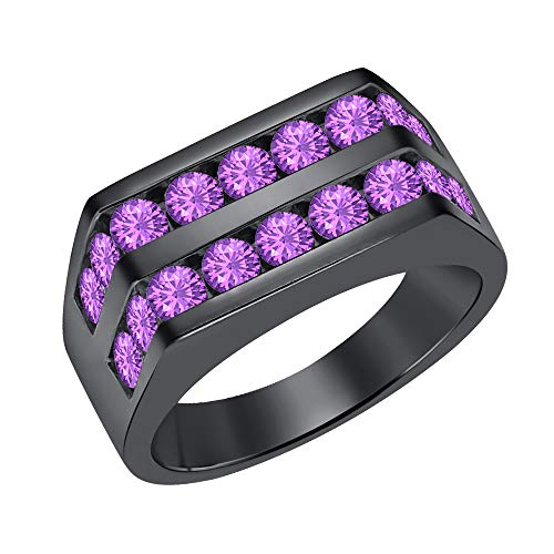 Amethyst Mens Bands - SVC-JEWELS Men's 14k Black Gold Over Channel Set Round Amethyst Wedding Band Anniversary Ring