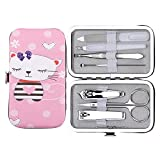 Kids Manicure Set, longmiao Nail Clippers Set Stainless Steel Personal Manicure & Pedicure Grooming Kit 7 in 1 for Children, with Cat printed Case