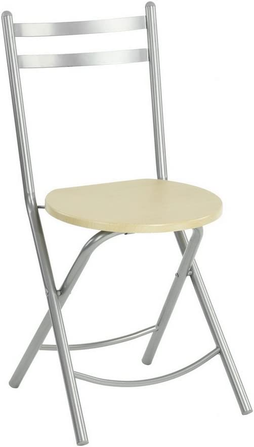 Conjunto mesa de comedor redonda D80 CM 4 sillas plegables contemporáneo MDF haya plata: Amazon.es: Hogar
