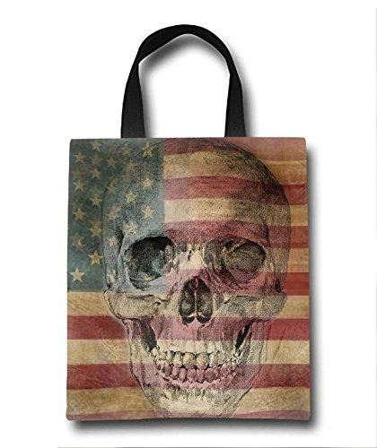 Skull On Flag Beach Tote Bag - Toy Tote Bag - Large Lightweight Market, Grocery & Picnic by Linhong