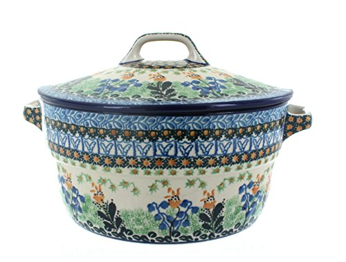 Blue Rose Polish Pottery Lily of the Valley Covered Round (Blue Round Baker)