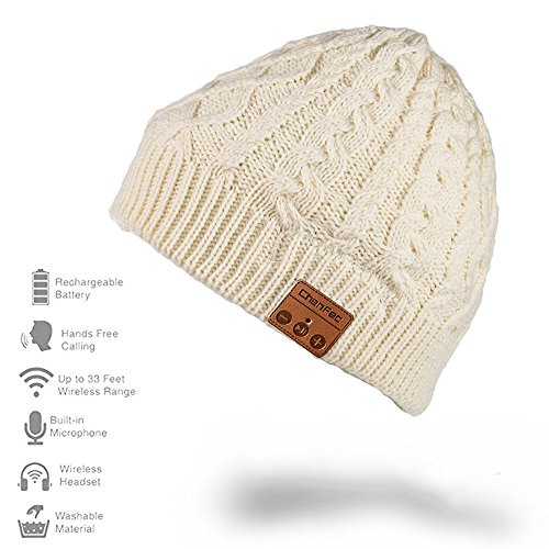Wireless Music Hat, Knit Winter Warm Beanie w/ Built-in Compatible with Bluetooth Stereo Headphone, Microphone for Hands-Free Calling - White