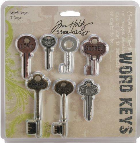 Idea-Ology Metal Word Keys 1.5 To 3 7/Pkg-Antique Nickel, Brass & Copper