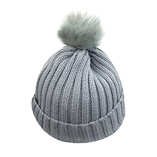 2638840a863 Galleon - 1-8 Years Unisex Baby Boys Girls Winter Solid Knit Hat Faux Fur  Pom Pom Beanie Hat Crochet Ski Cap Warm Thick