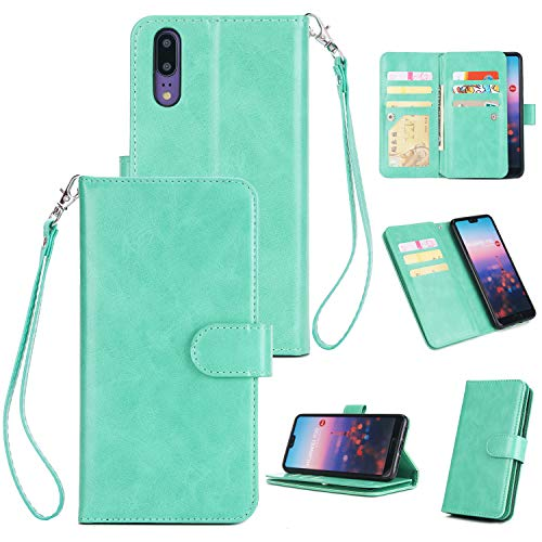 Huawei P20 Replacement PU Leather Wallet Case Flip Kickstand Function Ultra Folio Flip Slim Card Holder Case Cover Stand for Huawei P20 (Mint Green)