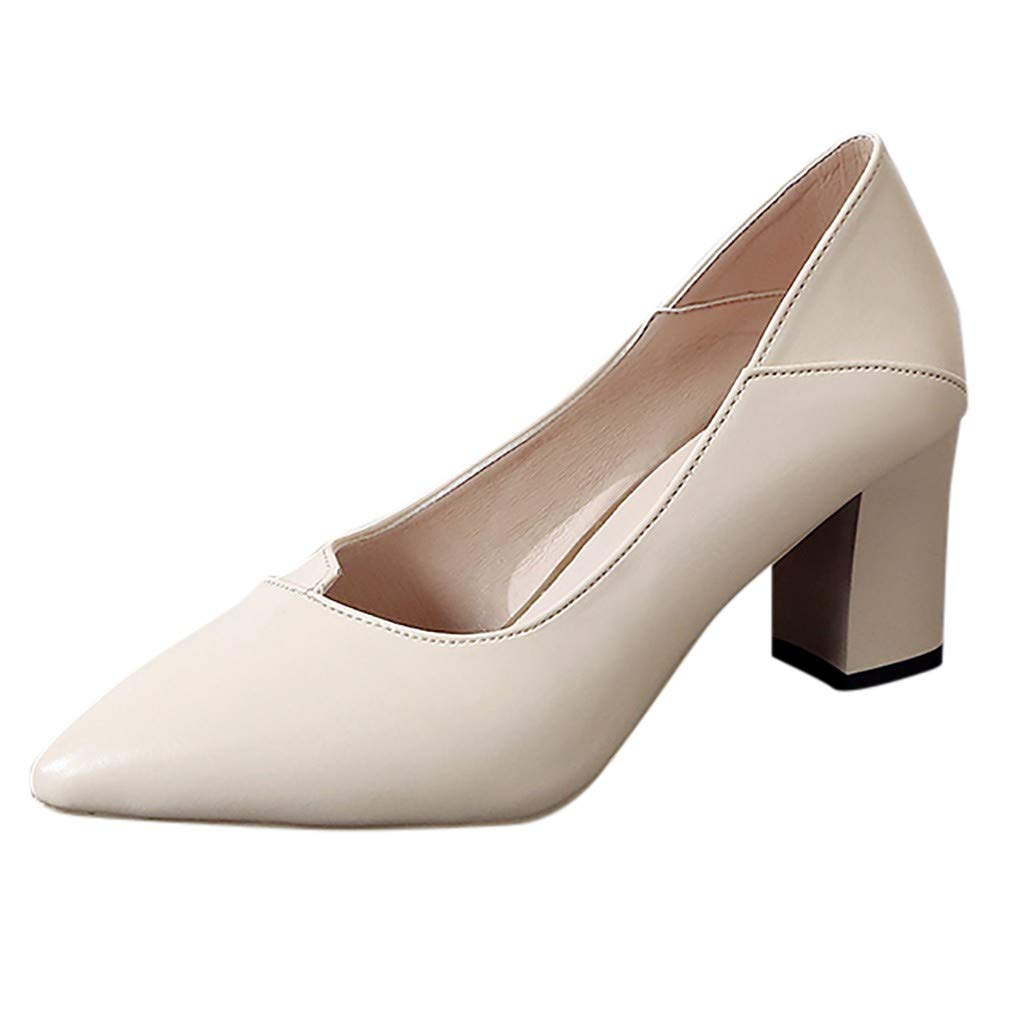 ZOMUSA Fashion Ladies Thick with High Heel Pointed Shoes Single Shoes Business Shoes Beige