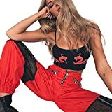 2018 New! Napoo Women Net Yarn Hollow Patchwork Zipper Sports Pants Outdoor Trousers (L, Red)
