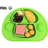 Placemat, Plate and Tray, Silicone Bowl, with 4-Strong Suction Cups, for Babies,Safe Non-toxic Food Grade Silicone, Phthalate Free, Easy Clearning Best for HighChair (green)
