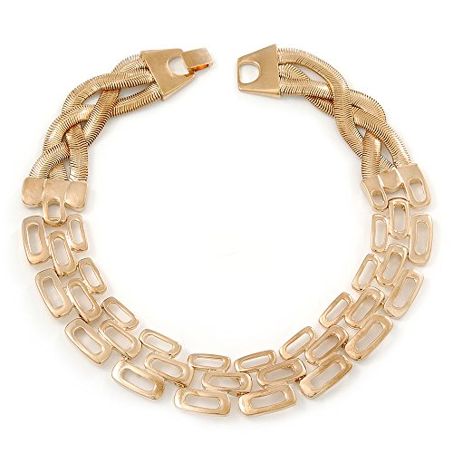 Statement Polished Open Square Link Choker Necklace In Gold Plating - 36cm Length