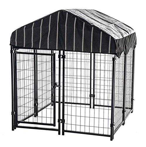 Fence for Dog Kennel Modular Pet Protection Play Pen Welded Wire Gate Heavy Duty Steel Waterproof Assembled Pannels Roof Cover with UV Protection - Skroutz Deals