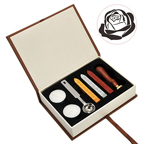 - The Rose Wax Seal Stamp Set, Yoption Classic Vintage Seal Wax Stamp Set, Retro Seal Stamps Maker Gift Box Set (The Rose #2)