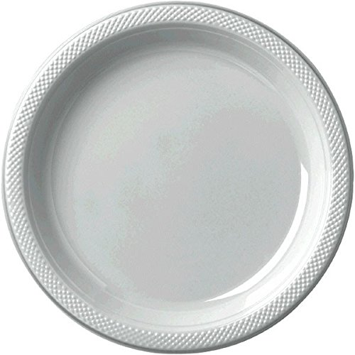 """Party Ready Reusable Round Luncheon Plates Tableware, Silver, Plastic , 9"""", Pack of 20"""