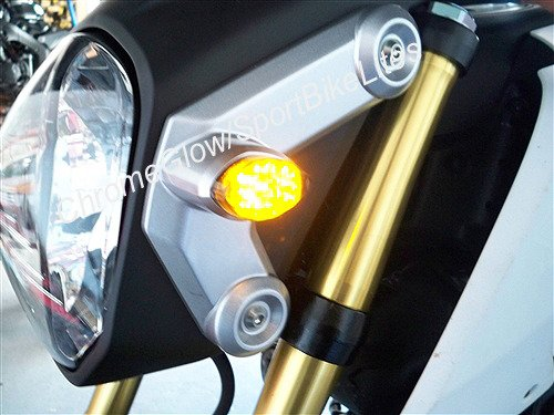 Flush Mount Front LED Turn Signal Kit with LED Flasher Relay for Honda Grom MSX125 - Clear Lens ()