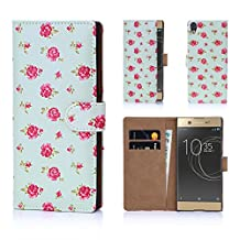 32nd Floral Design Leather Wallet Case for Sony Xperia XA1 Ultra, Designer Flower Pattern Wallet Style Case Cover With Card Slots - Vintage Rose Mint