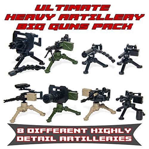 Ultimate Heavy Artillery Big Guns Pack - Military Army Weapons and Accessories Building Block Toy for Custom Bricks - Machine Ww2 Guns