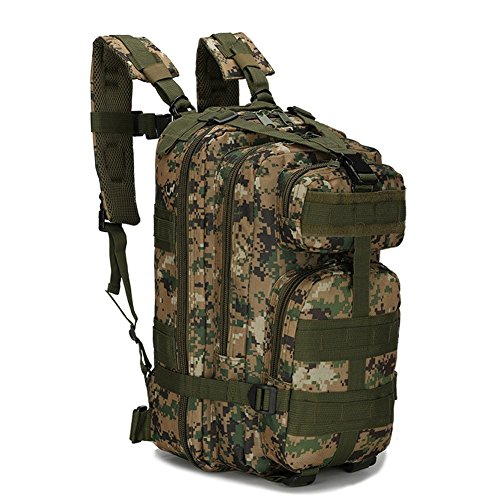 Kenny Walker Military Army Backpack 3P Rucksack Camo Woodland Waterproof Molle Tactical Daypack for Camping Hiking Travel 30L Nylon Survival Duffle Bag (Forest Digital Camouflage)