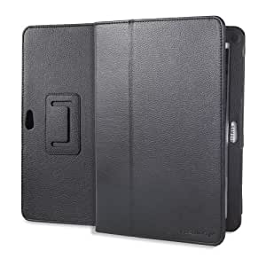 Fosmon Leather Folio Case with Stand for Samsung Galaxy Tab 10.1 - Black