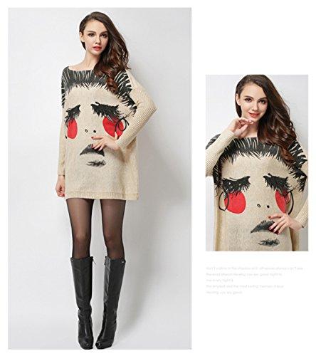 "Clivia Mujer Delgado Cuello Redondo Media Hülse übergangs Sweater Jersey para estaciones -- ""Music patrón & # xff08; Average Size & # xff09; qt-44 Aprikose"