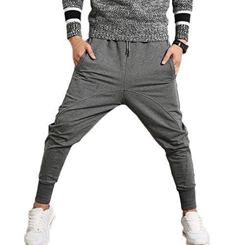 INVACHI Slim Fit Mens Cotton Jogging Pants Low Crotch Drawstring Baggy Sweatpants Hip Hop Trousers
