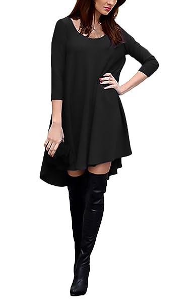 new products e55e5 fefb4 Vestiti Donna Eleganti Vintage Manica Lunga Rotondo Collo Casual Larghi  Tinta Unita Hippie Moda Autunno Invernali Corti Maglietta Abito Vestito da  ...