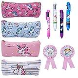 Baring 4pcs Pencil Case, 4pcs Ballpoint Pens 6 Link Colors in Each Pen and 2pcs Unicorn Badges Cute Unicorn Unique Design - Best Gift for Kids Unicorn Party Decoration