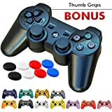 FiveStar PS3 Controller Remote Wireless Gamepad for use with Playstation3 (11 Colors) (Black)