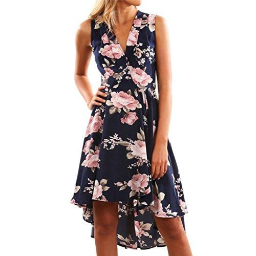 - Clearance!!Ladies Beach Party Dresses,Woaills Women Polyester Off Shoulder Floral Short Mini Dress (L, Dark Blue)