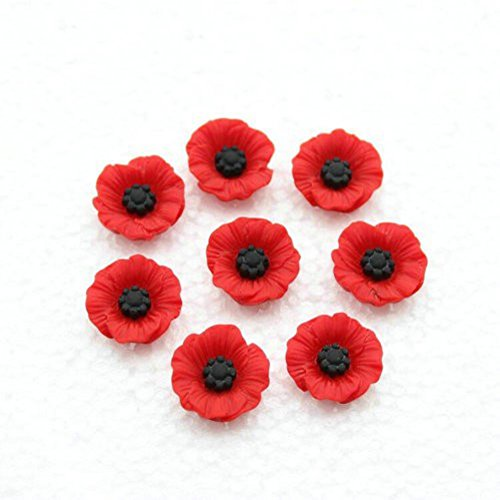 50PCS Artificial Resin Poppy Flowers Flat-Back Beads for DIY Jewelry Making (19mm)