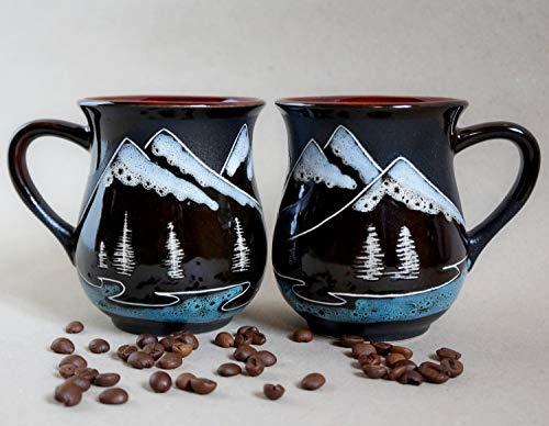 Handmade pottery mugs, Mountain art, Set of two coffee mugs, Hiking gift, Adventure awaits mug