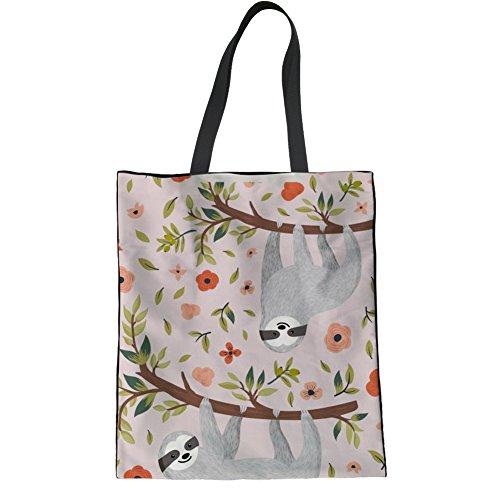 HUGS Bag Linen Bag IDEA Teen Shoulder 3 Sloth Handbag Casual Girl Floral Bag College Sloth Tote Hipster pprBqx