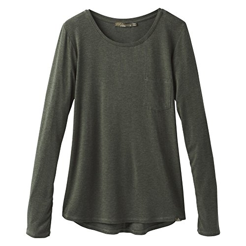 prAna Foundation l/S Crew Neck Top, Forest Green Heather, Large