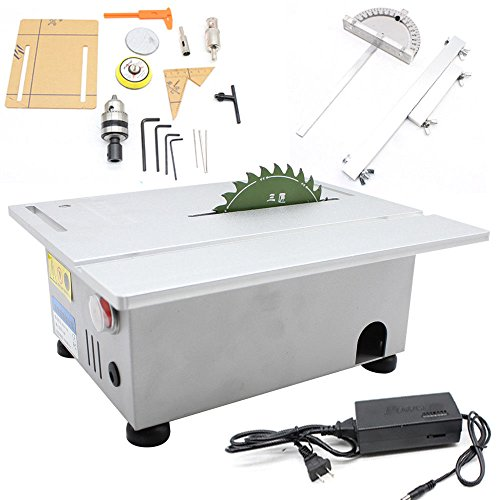 Woodworking Table Saw Bench, T5 Mini Precision Table Benchtop Blade Lathe DIY Polisher, 24V Electric Woodworking Carving Machine Craft Cutting Tool, 7000/Min Speed ()