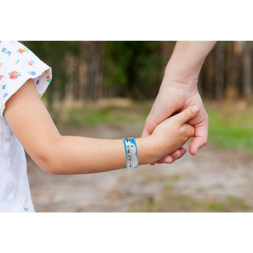 LIZHIGE Bracelet identification pour enfant 12 pi/èces Equip/é dun stylo sp/écial Bracelet r/éutilisable /Étanche Bracelet SOS Filles de Gar/çons