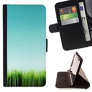 For Samsung Galaxy A3 Case , Green Nature minimalista verano- la tarjeta de Crédito Slots PU Funda de cuero Monedero caso cubierta de piel