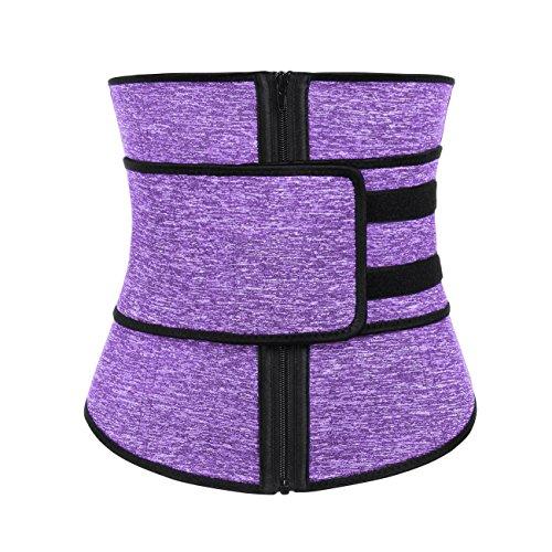 FeelinGirl Women Hot Sweat Neoprene Workout Waist Trainer Corset Trimmer Belt Zipper Slimming Weight Loss Body Shaper (XXL, ()
