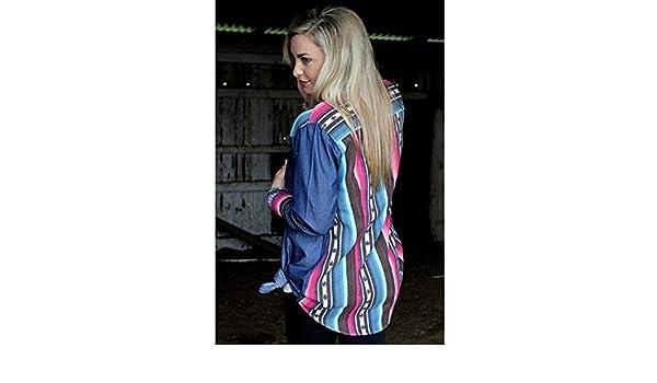 4e490f52 Amazon.com: Womens Denim Front Ranchero Serape Back Button Up Long Sleeve  Shirt: Clothing