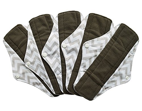 5 Pieces Charcoal Bamboo Mama Cloth/ Menstrual Pads/ Reusable Sanitary Pads (Regular (10 inch), Grey Chevron)