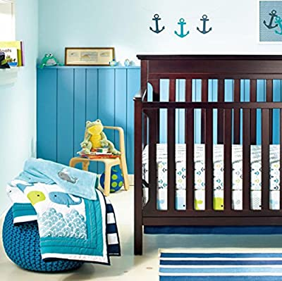 New Baby Boy Neutral Animal Ocean Whale 8pcs Crib Bedding Set with Bumper