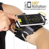 Running Armband Phone Holder, 180°Rotatable with Key & Earbuds Holder Phone Armband for Hiking Biking Walking for iPhone X/8 Plus/8/7 Plus/6 Plus/6, Galaxy S8/ S8 Plus/ S7 Edge Note 8 5 - Black