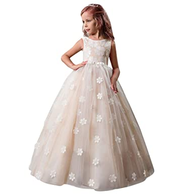 828650396 Amazon.com  Little Big Girls Maxi Lace Tulle Bridesmaid Dress Flower ...