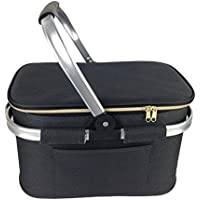JSK Classic Black Insulated Shopping/Picnic Basket with Side Pocket | Collapsible for Easy Storage
