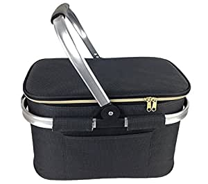 Black Insulated Shopping/Picnic Basket with Side Pocket | Folds Flat for Easy Storage