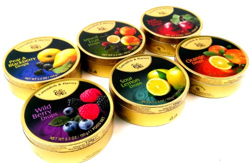 Cavendish & Harvey Drops 6-Flavor Variety: One 5.3 oz Tin Each of Orange, Mixed Fruit, Pear & Blackberry, Wild Berry, Sour Cherry, and Sour Lemon in a BlackTie Box (6 Items Total) by Black Tie Mercantile (Image #1)
