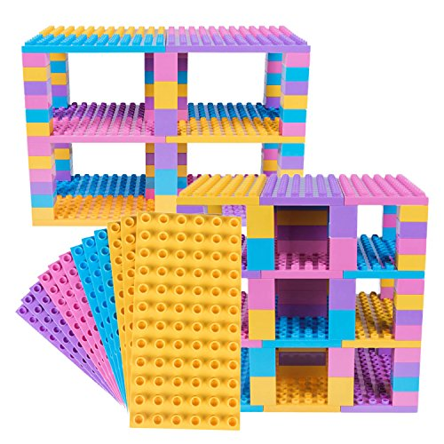 Premium Big Briks Yellow, Pink, Lavender, and Turquoise Baseplate Tower Construction Set - 96 Pack Bundle - Compatible with All Major Large Size Brands – Large Pegs Only
