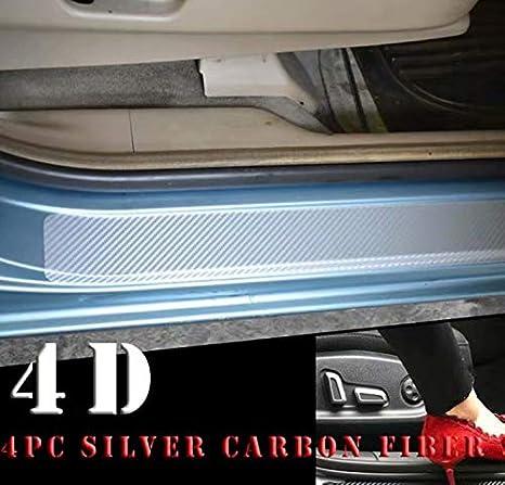 4 protections de seuils de portes de voitures - Protections autocollantes en carbone - Calistouk