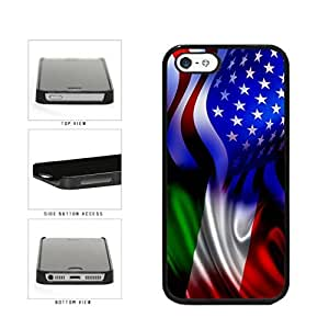 NADIA Generic Italy and USA Mixed Flag Plastic Phone Case Back Cover for iPhone 4/4s